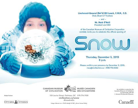 SNOW. Canadian Museum of Civilization Invitation for Photographic Presentation